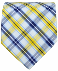 Yellow and Navy Checkered Cotton Tie by Paul Malone