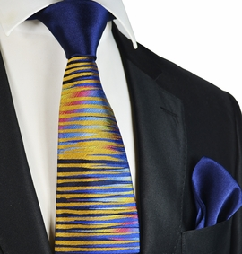 Yellow and Navy Steven Land Contrast Knot Silk Tie and Pocket Square
