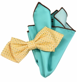 Yellow and Turquoise Bow Tie Set with Rolled Bordered Pocket Square