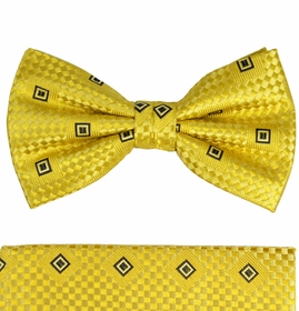 Yellow Bow Tie with Black Square Pattern by Paul Malone . 100% Silk (BT461H)