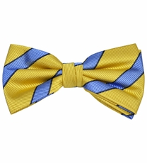 Yellow Bow Tie with Blue Stripes by Paul Malone . 100% Silk