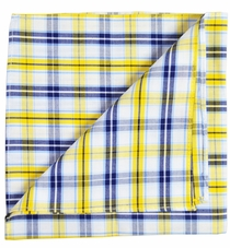 Yellow, Navy and White Cotton Pocket Square by Paul Malone