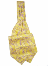 Yellow Paisley Ascot Tie and Pocket Square Set