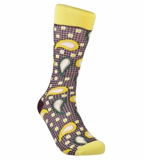 Yellow Paisley Cotton Dress Socks by Paul Malone