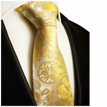 Yellow Paisley Paul Malone Neck Tie, 100% Silk (427)