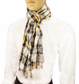 Yellow Plaid Men's Cotton Crinkle Scarf by Paul Malone