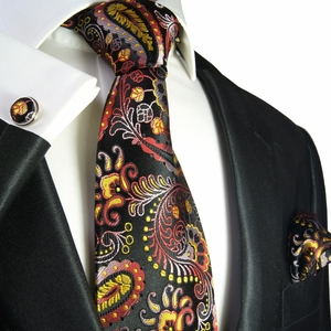Yellow, Red and Black Paisley Tie Set by Paul Malone . 100% Silk (553CH)