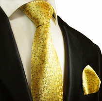 Yellow Silk Tie and Pocket Square Set by Paul Malone