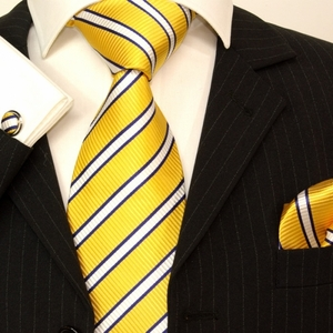 Yellow, White and Blue Striped Paul Malone Silk Tie Set (254CH)