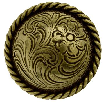 """F9819-3 OEB 1"""" BRASS Plate Round Rope Edge Western Engraved Concho"""