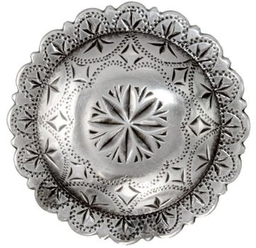 "FA4831 LASRP Engraved Windrose Concho 1/2"" Antique Silver"