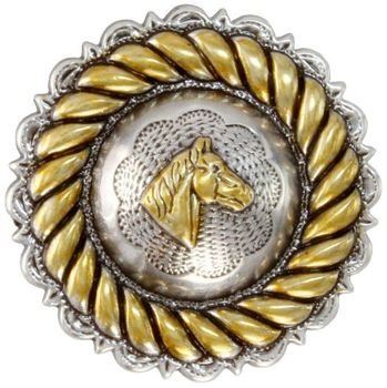 "FA4832-2 ASAG Rope Edge Horse Head Concho 1"" Antique Silver and Gold"
