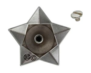 """FA4836-1 ASAG Antique Silver and Gold 1 1/2"""" Star Horsehead Concho"""