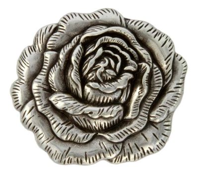 "FA4881 LASRP Antique Silver Rose Concho 1 3/4"" x 1 1/2"""