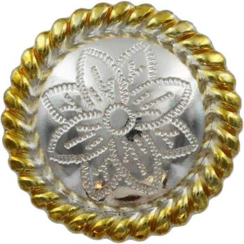 FA5053-2 GSP Polished Silver and Gold Rope Edge Flower Engraved Concho 1''