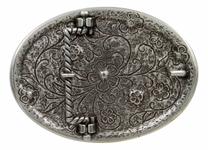 HA0860 Antique Silver Oval Engraved Belt Buckle Lt. Rose