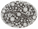 HA0860 Antique Silver Oval Engraved Belt Buckle Full Crystals