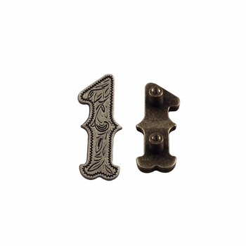 "Number ""1"" Screw Back Concho-Old Silver"