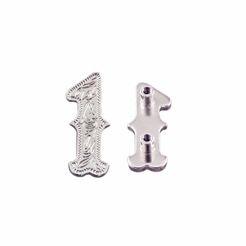 """Number """"1"""" Screw Back Concho-Shiny Silver"""
