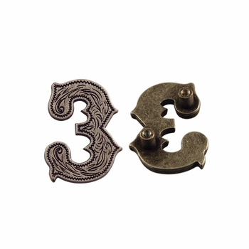 """Number """"3"""" Screw Back Concho-Old Silver"""