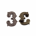 "Number ""3"" Screw Back Concho-Old Silver"