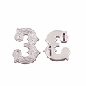 "Number ""3"" Screw Back Concho-Shiny Silver"