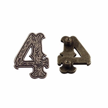 """Number """"4"""" Screw Back Concho-Old Silver"""