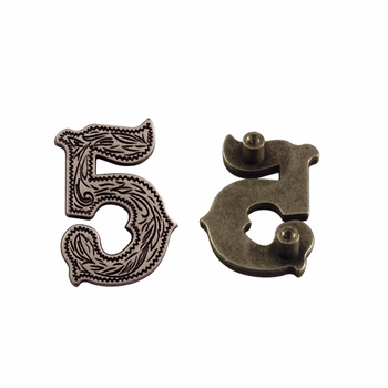 "Number ""5"" Screw Back Concho-Old Silver"