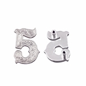 "Number ""5"" Screw Back Concho-Shiny Silver"