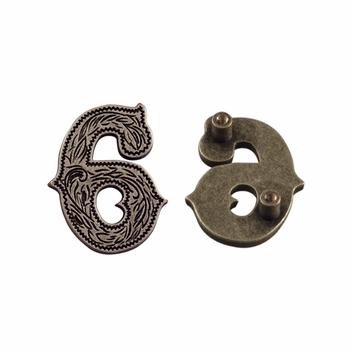 "Number ""6"" Screw Back Concho-Old Silver"