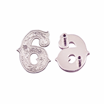 "Number ""6"" Screw Back Concho-Shiny Silver"