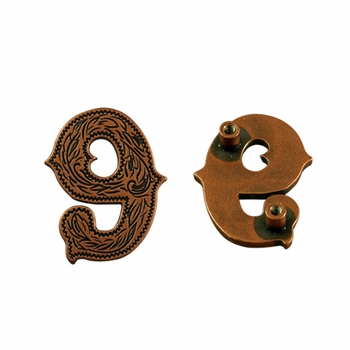 "Number ""9"" Screw Back Concho-Copper"