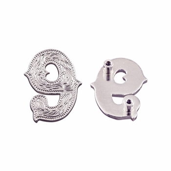 """Number """"9"""" Screw Back Concho-Shiny Silver"""
