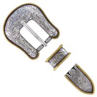 """S6201 ASAG 3/4"""" Antiqued Silver and Gold Replacement Buckle Set 19MM"""