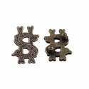 "Symbol ""$"" Screw Back Concho-Old Silver"