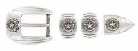 Texas Seal Silver Western Buckle Double Loop Tip Belt Set 4-piece with screw