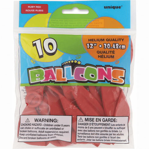 """10pk 12"""" Ruby Red Balloons"""