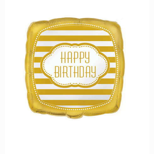 "18"" Bulk Golden B'day Square Floral Balloon"