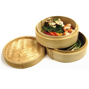 2 - Tier Bamboo Steamer with Lid