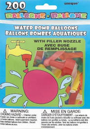 200 Water Bomb Balloons with Filler Nozzle
