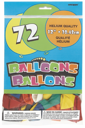 "Assorted 12"" Balloons 72 ct."