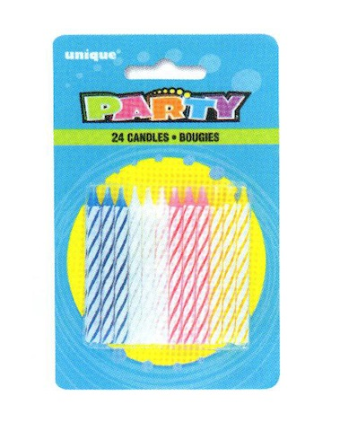 24 Spiral Multicolored B'Day Candles