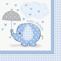 Baby Shower Umbrellaphant Blue Lunch Napkins