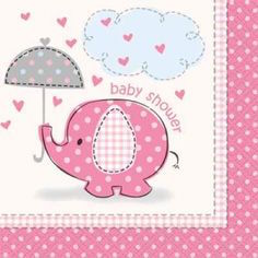 Baby Shower Umbrellaphant Pink Beverage Napkin