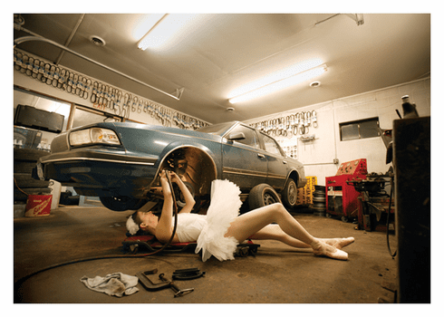 Ballerina Fixing Car