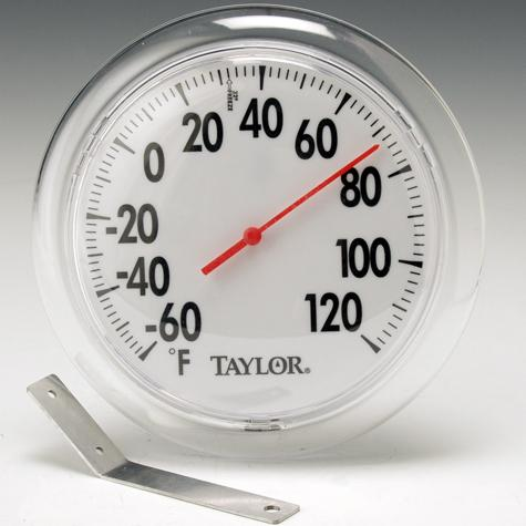 """Big Read/Black on White 6"""" Dial Thermometer"""