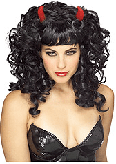 Black Devil Wig with Horns