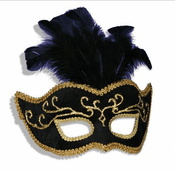 Black Venetian Feathers Mask