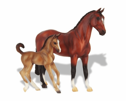 Blood Bay Warmblood and Liver Chestnut Foal Set