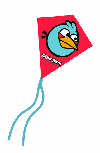 Blue Angry Birds Mini Poly Diamond Kite 7.5""